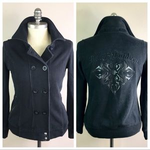 Harley Davidson black fleece logo Button jacket S